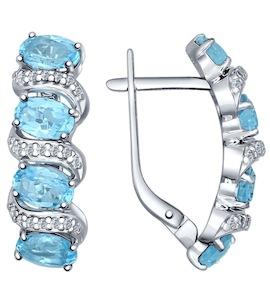 Серьги из серебра с голубыми топазами и фианитами 92021345