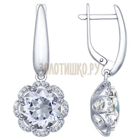 Серьги из серебра с горным хрусталем и фианитами 92021353