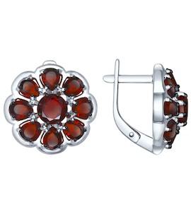 Серьги из серебра с гранатами 92021397