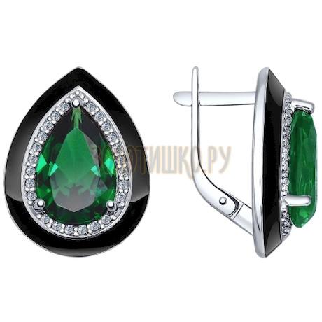 Серьги из серебра с эмалью с зелеными ситаллами и фианитами 92021450