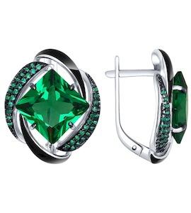 Серьги из серебра с эмалью с зелеными ситаллами и зелеными фианитами 92021455