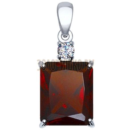 Подвеска из серебра с красным ситаллом и фианитом 92030425