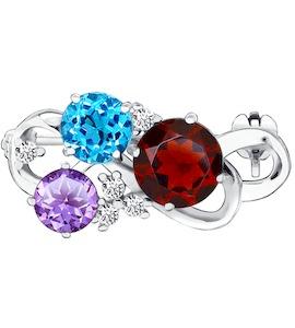 Серебряная брошь с яркими камнями 92040024