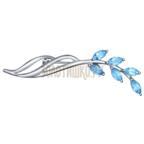 Брошь из серебра с голубыми топазами 92040044