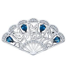 Брошь «Веер» из серебра с топазами и фианитами 92040053