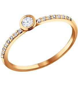 Серебряное золоченое кольцо с фианитами 93010162