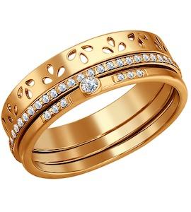 Кольцо наборное из золочёного серебра с фианитами 93010186
