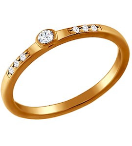 Помолвочное кольцо из золочёного серебра с фианитами 93010188