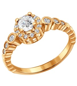 Помолвочное кольцо из золочёного серебра с фианитами 93010254