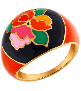 Золочёное кольцо с Хохломой 93010311