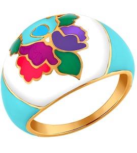 Позолоченное кольцо с разноцветной эмалью 93010312