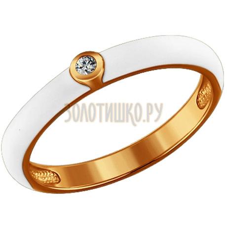 Позолоченное кольцо с белой эмалью 93010324