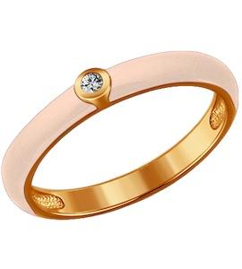 Бежевое кольцо из золочёного серебра с эмалью с фианитом 93010325