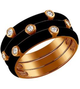 Трехрядное чёрное кольцо из золочёного серебра с эмалью 93010326