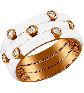 Кольцо с фианитами покрытое белой эмалью 93010327