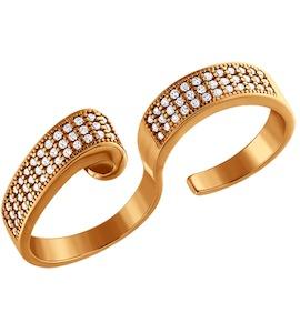 Позолоченое кольцо на два пальца 93010333