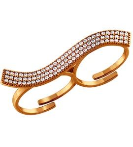 Позолоченное кольцо на два пальца с россыпью фианитов 93010334