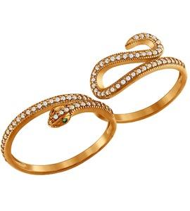 Позолоченное кольцо на два пальца 93010346