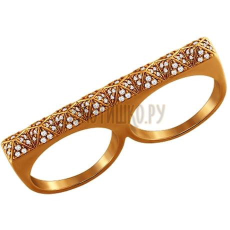 Стильное кольцо на два пальца 93010347