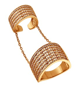 Кольцо на две фаланги из золочёного серебра с фианитами 93010349