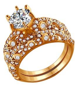 Кольцо наборное из золочёного серебра с фианитами 93010350