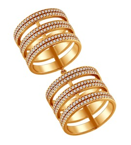 Позолоченное кольцо на две фаланги 93010377