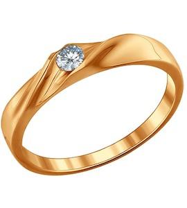 Помолвочное кольцо из золочёного серебра с фианитом 93010389