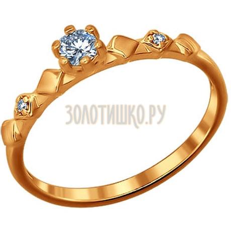 Кольцо из золочёного серебра с фианитами 93010394