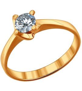 Помолвочное кольцо из золочёного серебра с фианитом 93010404