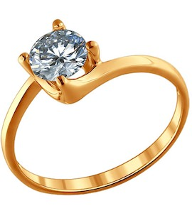 Помолвочное кольцо из золочёного серебра с фианитом 93010405