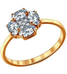 Помолвочное кольцо из позолоченного серебра с фианитами 93010406