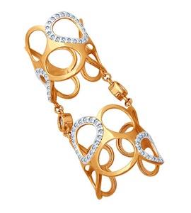 Кольцо на две фаланги из золочёного серебра 93010412