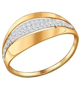 Кольцо из золочёного серебра с фианитами 93010500