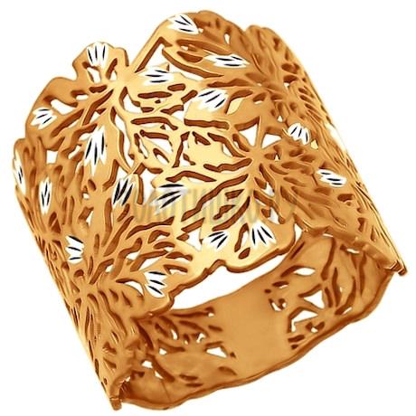 Кольцо из золочёного серебра с алмазной гранью 93010506