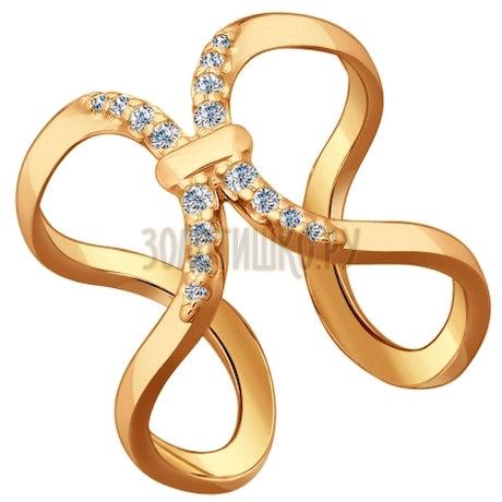 Кольцо из золочёного серебра с фианитами 93010526