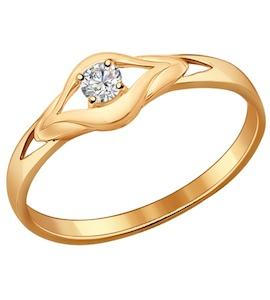 Кольцо из золочёного серебра с фианитом 93010531