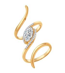 Кольцо на две фаланги из золочёного серебра с фианитами 93010554
