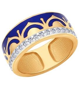Кольцо из золочёного серебра с эмалью с фианитами 93010555