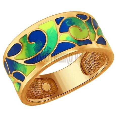 Кольцо из золочёного серебра с эмалью 93010609