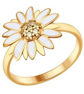 Кольцо из золочёного серебра с эмалью с жёлтыми фианитами 93010625