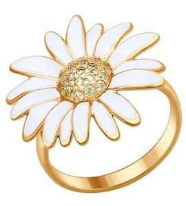 Кольцо из золочёного серебра с эмалью с жёлтыми фианитами 93010626