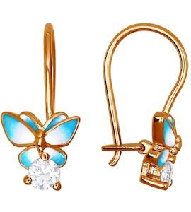Детские серьги с голубыми бабочками 93020393