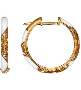 Серьги из золочёного серебра с эмалью с фианитами 93020416