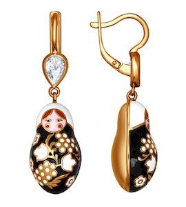 Серьги с орнаментом чёрно-золотого цвета 93020451