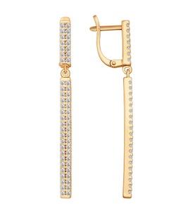 Серьги из золочёного серебра с фианитами 93020639