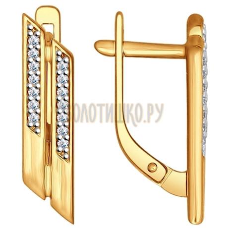 Серьги из золочёного серебра с фианитами 93020690