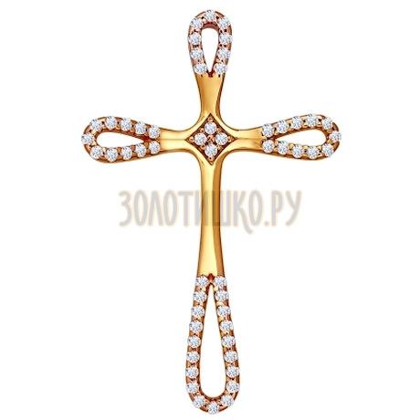 Крест из золочёного серебра с фианитами 93030217