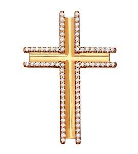 Крест из золочёного серебра с фианитами 93030218