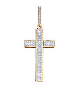Крест из золочёного серебра с фианитами 93030221