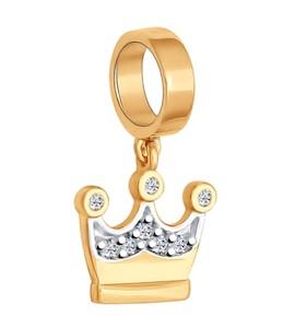 Подвеска-шарм «Корона» из золочёного серебра с фианитами 93030276